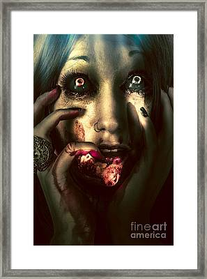 Dark Scary Female Face Expressing Bloody Fear Framed Print by Jorgo Photography - Wall Art Gallery