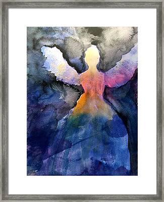 Dark Skies Angel Framed Print by Jeanne MCBRAYER