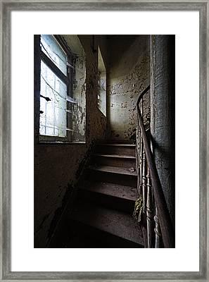 Dark Stairs Haunted House Urban Exploration Framed Print by Dirk Ercken