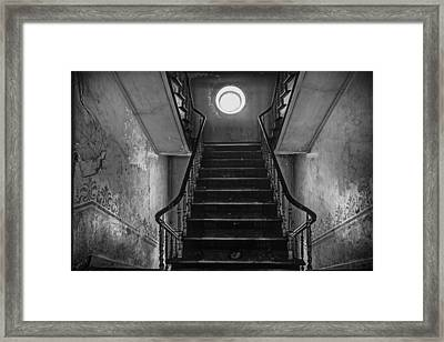 Dark Stairs To Attic - Urban Exploration Framed Print
