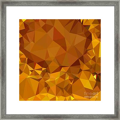 Dark Tangerine Yellow Abstract Low Polygon Background Framed Print