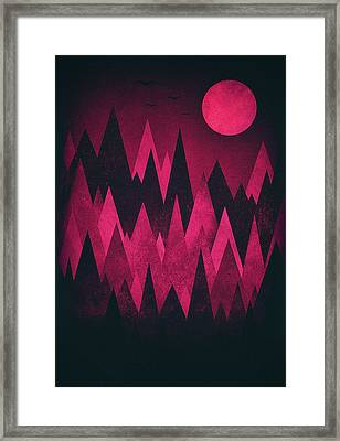 Dark Triangles - Peak Woods Abstract Grunge Mountains Design In Red Black Framed Print