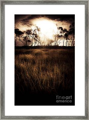 Dark Wetland Sunset Scene Framed Print by Jorgo Photography - Wall Art Gallery