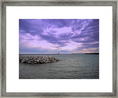 Darkening Skies Over Lake Michigan Framed Print