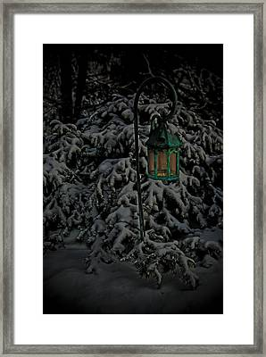 Darkness Descends Upon A Glowing Light Framed Print by Timothy Hedges