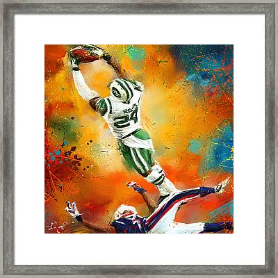 Darrelle Revis Action Shot Framed Print by Lourry Legarde