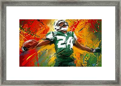 Darrelle Revis Colorful Portrait Framed Print by Lourry Legarde