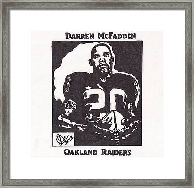 Framed Print featuring the drawing Darren Mcfadden 2 by Jeremiah Colley