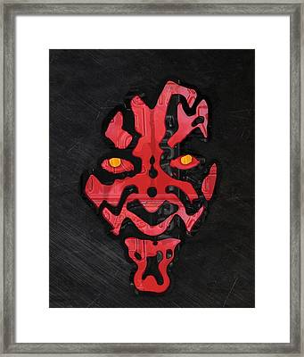 Darth Maul Sith Lord Star Wars Recycled Vintage License Plate Fan Art Framed Print by Design Turnpike