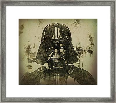 Darth Vader Grunge Framed Print