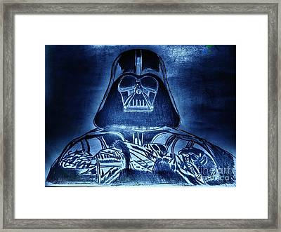 Darth Vader Rogue One - Blue Glow Framed Print