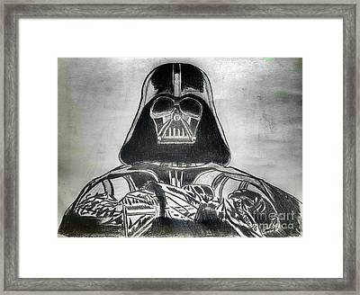 Darth Vader Rogue One - Charcoal Framed Print