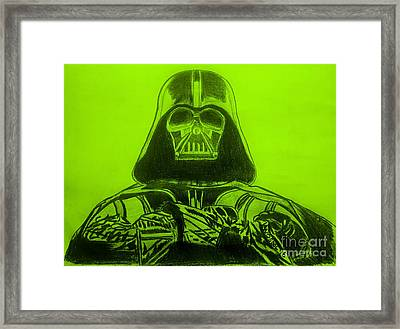 Darth Vader Rogue One - Green Background Framed Print