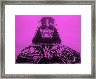 Darth Vader Rogue One - Purple Background Framed Print