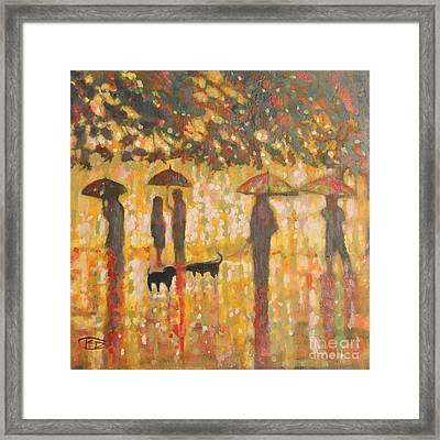 Daschunds In The Rain Framed Print by Kip Decker