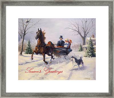 Dashing Through The Snow Framed Print by Jeanne Newton Schoborg