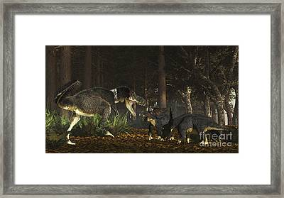 Daspletosaurus Confronts A Family Framed Print