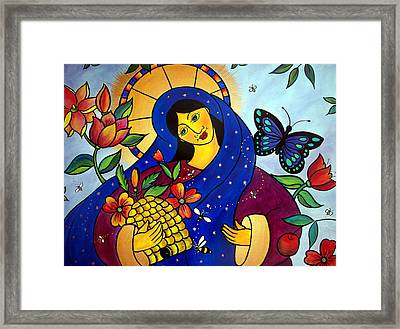 Framed Print featuring the painting Dat Rosa Mel Apibus by Jan Oliver-Schultz