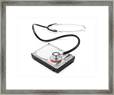 Data Recovery Stethoscope And Hard Drive Disc Framed Print by Jorgo Photography - Wall Art Gallery