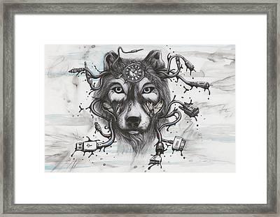 Data Wolf Framed Print