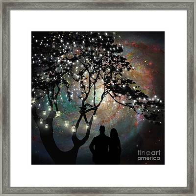 Date Night, Trees, Stars, String Of Lights, Galaxy, Dating Couple Framed Print by Tina Lavoie