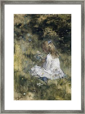Daughter Of Jacob Maris With Flowers In The Grass Framed Print by Jacob Maris