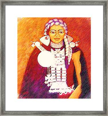 Daughter Of The Bright Sun - Kushe Framed Print by Madalena Lobao-Tello