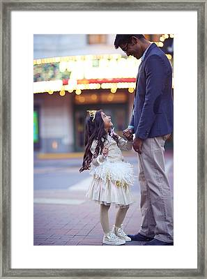 Daughter Smiling At Her Father On Urban Framed Print