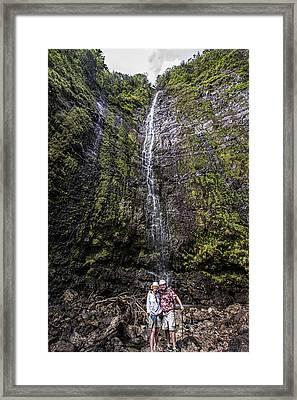 Dave And Elaine At Waimoku Falls Framed Print