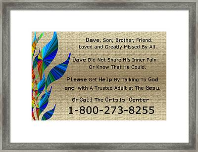Dave Memorial Framed Print by Aimee L Maher Photography and Art Visit ALMGallerydotcom