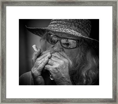 Dave Plays Harp Framed Print