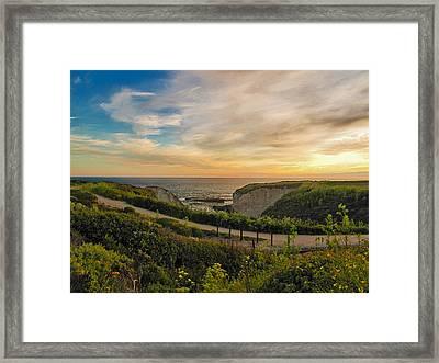 Davenport Postcard Sunset Framed Print by Larry Darnell