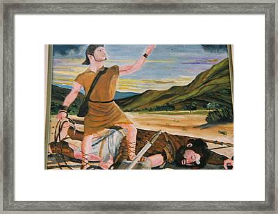 David And Goliath Framed Print by Desenclos Patrick