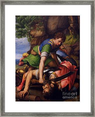 David And Goliath Framed Print by MotionAge Designs