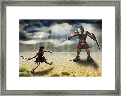 David And Goliath Framed Print by Shane Robinson