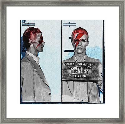 David Bowie - Aladdin Sane Mugshot Framed Print by Bill Cannon
