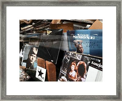 David Bowie And Nina Simone - Greenwich Village Record Store Framed Print by Madeline Ellis