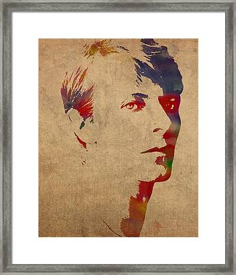 David Bowie Rock Star Musician Watercolor Portrait On Worn Distressed Canvas Framed Print by Design Turnpike