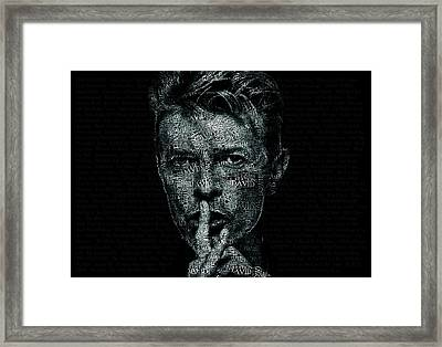 David Bowie Text Portrait - Typographic Poster With Album Titles And Background With Songs Names Framed Print by Jose Elias - Sofia Pereira