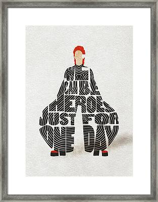 Framed Print featuring the digital art David Bowie Typography Art by Inspirowl Design