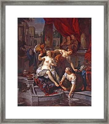 David From The Roof Of His Palace Sees Bathsheba Bathing Framed Print by Nicolaas Verkolje