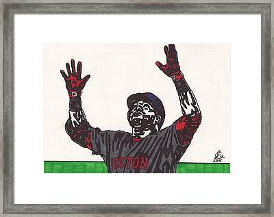 David Ortiz 2 Homer 498 Framed Print by Jeremiah Colley