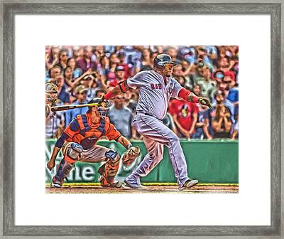 David Ortiz Boston Red Sox Oil Art 1 Framed Print by Joe Hamilton