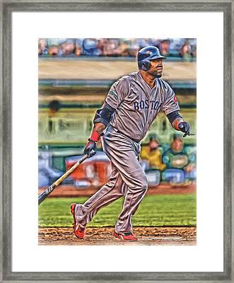 David Ortiz Boston Red Sox Oil Art 2 Framed Print by Joe Hamilton