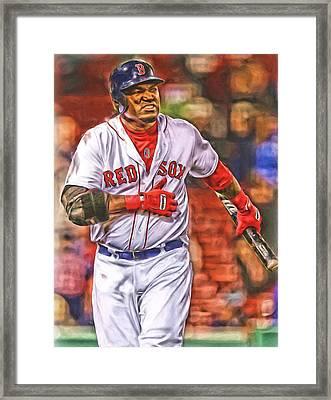 David Ortiz Boston Red Sox Oil Art 3 Framed Print by Joe Hamilton