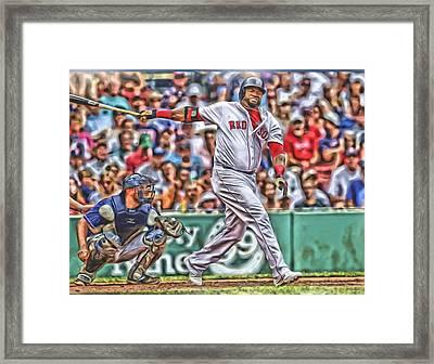 David Ortiz Boston Red Sox Oil Art 5 Framed Print by Joe Hamilton