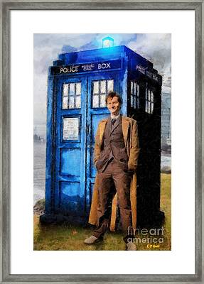 David Tennant As Doctor Who And Tardis Framed Print by Elizabeth Coats