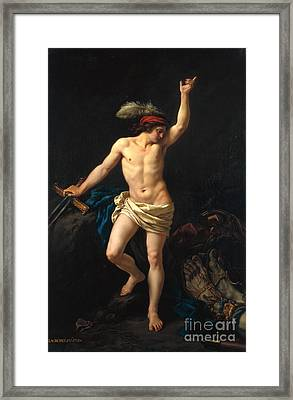 David Victorious Framed Print by Jean Jacques II Lagrenee