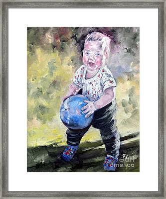 David With His Blue Ball Framed Print