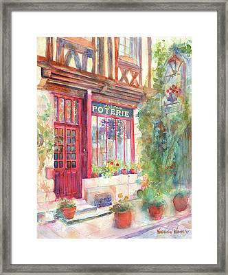 David's Europe 2 - A And C Squire Poterie European Street Scene Watercolor Framed Print by Yevgenia Watts